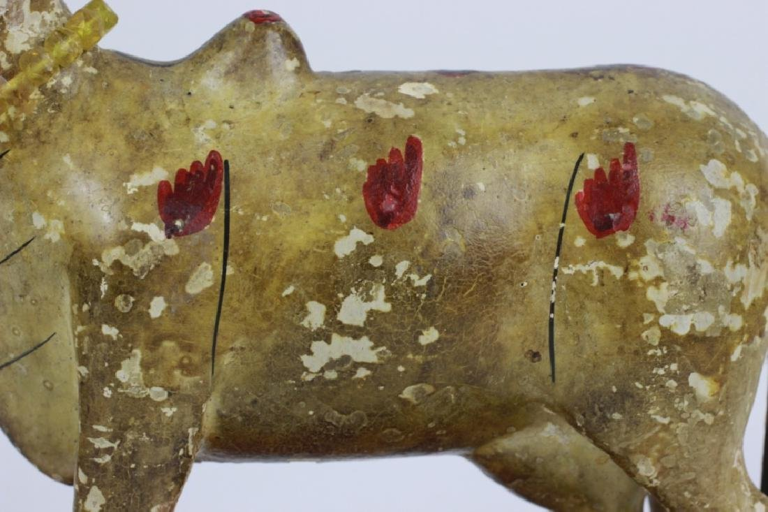 18thc/19thc Indian Carved Wood Painted Toy Cow - 2