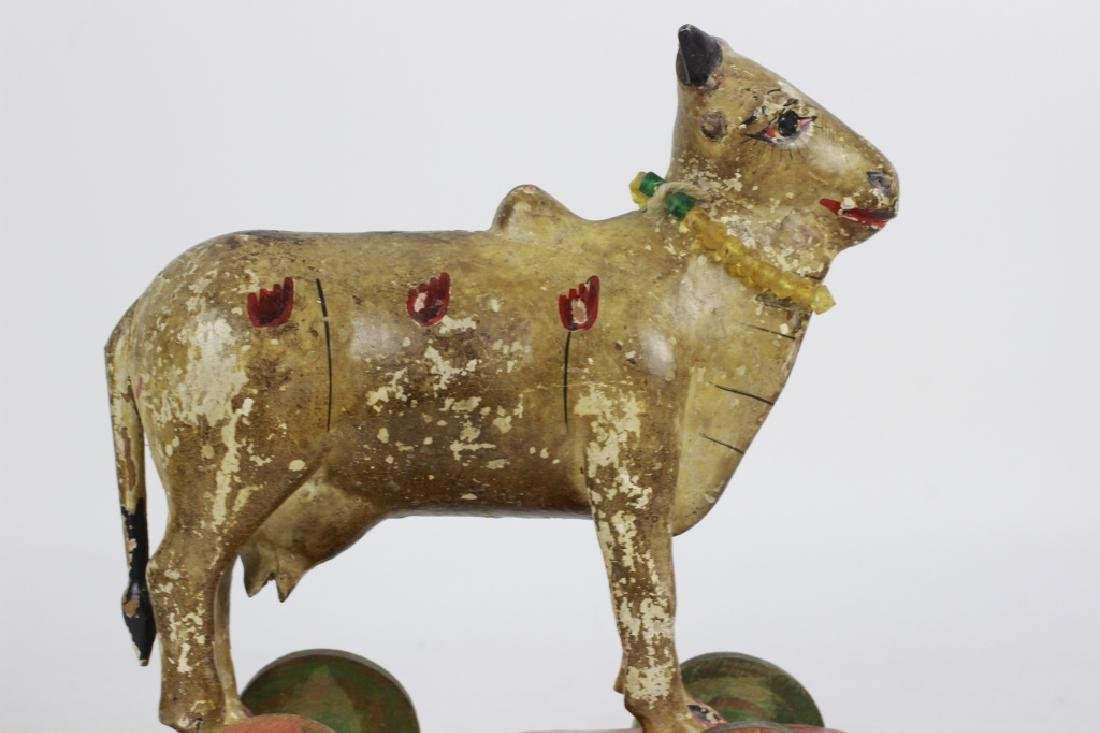 18thc/19thc Indian Carved Wood Painted Toy Cow - 7