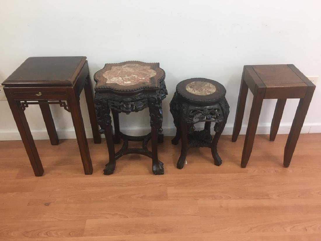 4 Chinese Pedestal Tables, 2 w/ Marble Inset Tops