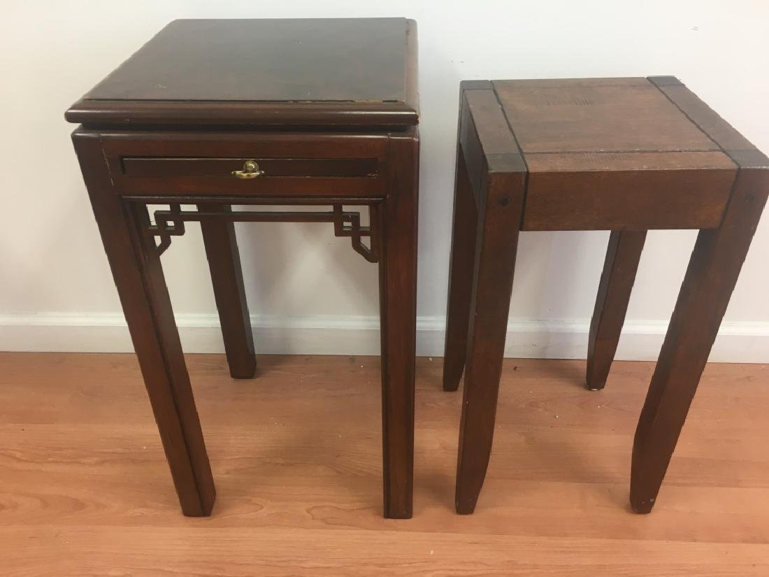 4 Chinese Pedestal Tables, 2 w/ Marble Inset Tops - 7