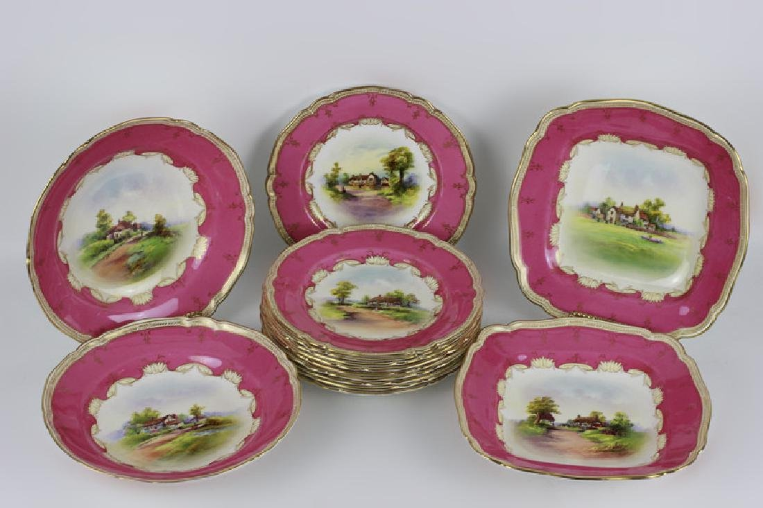 14 Royal Worcester Plates w/ Hand Painted Scenes