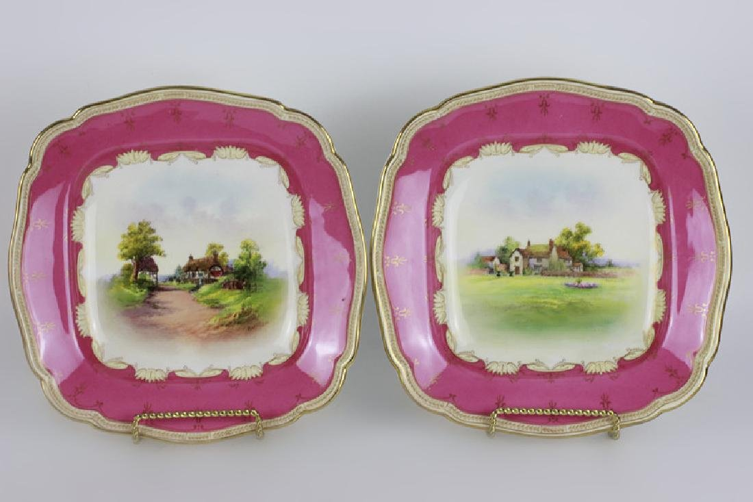 14 Royal Worcester Plates w/ Hand Painted Scenes - 2
