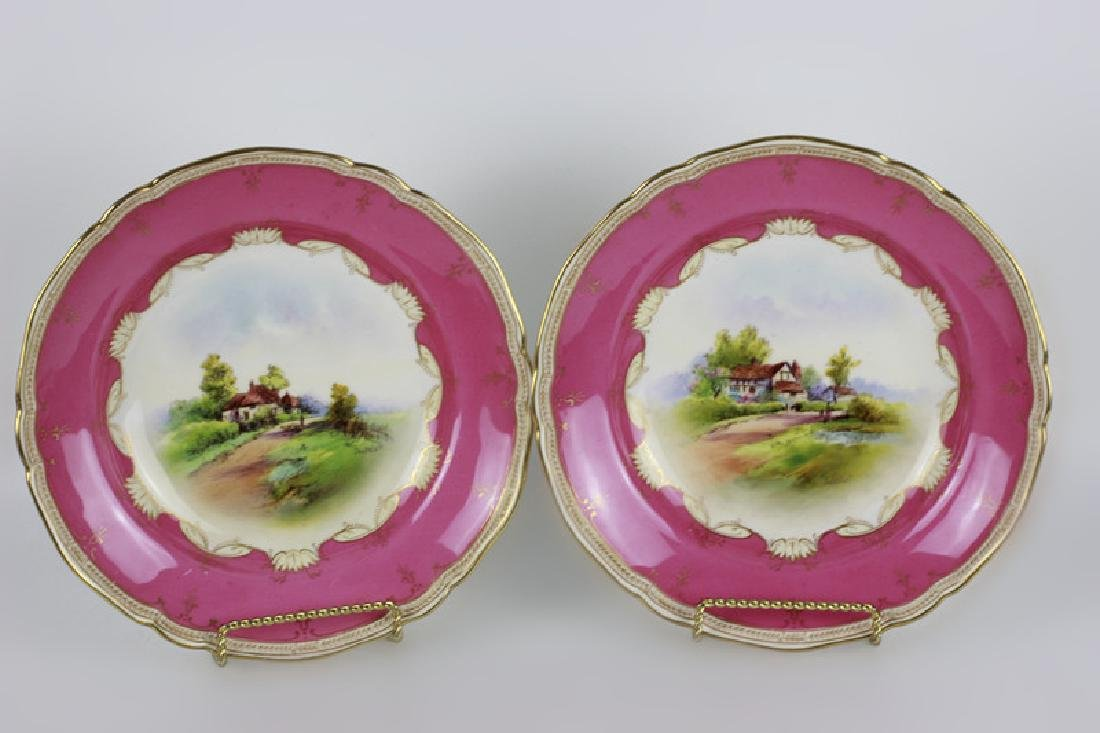 14 Royal Worcester Plates w/ Hand Painted Scenes - 8