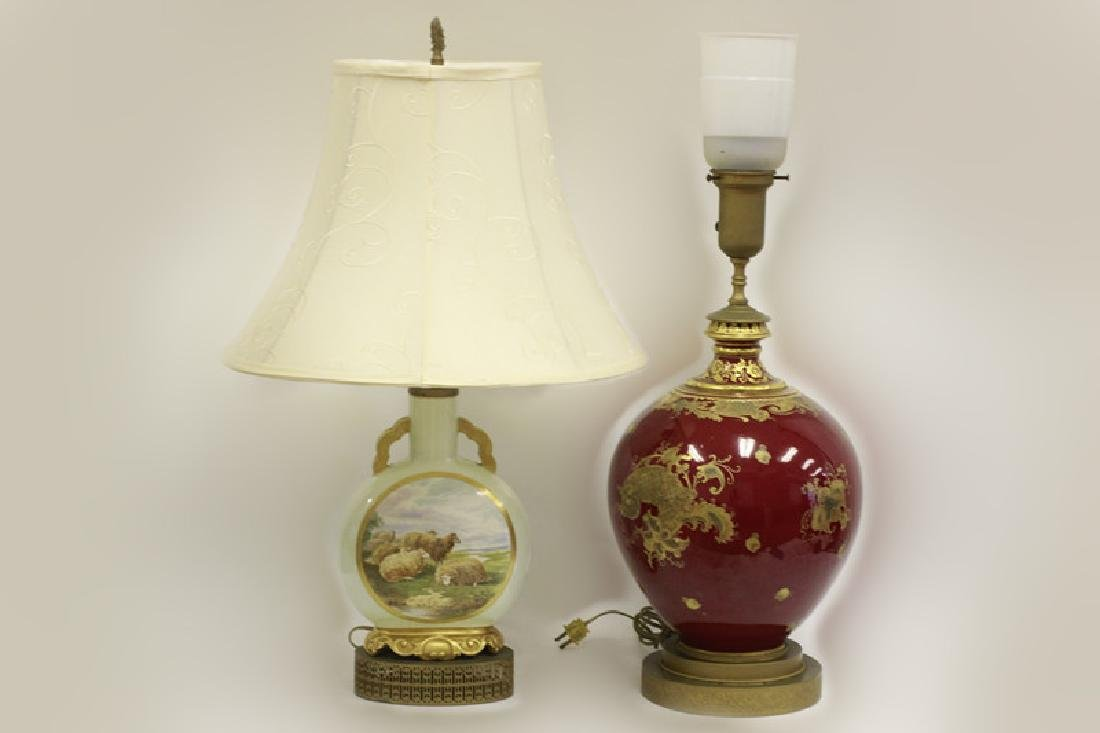 2 Vases Mounted as Lamps, 1 Derby.