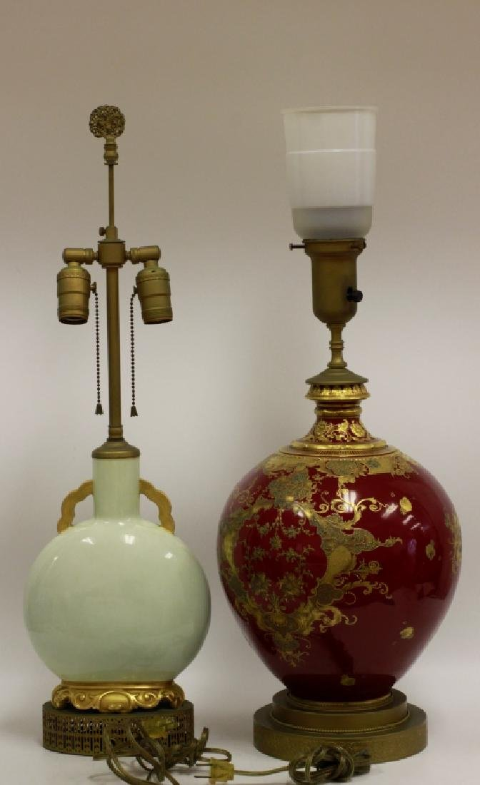 2 Vases Mounted as Lamps, 1 Derby. - 3