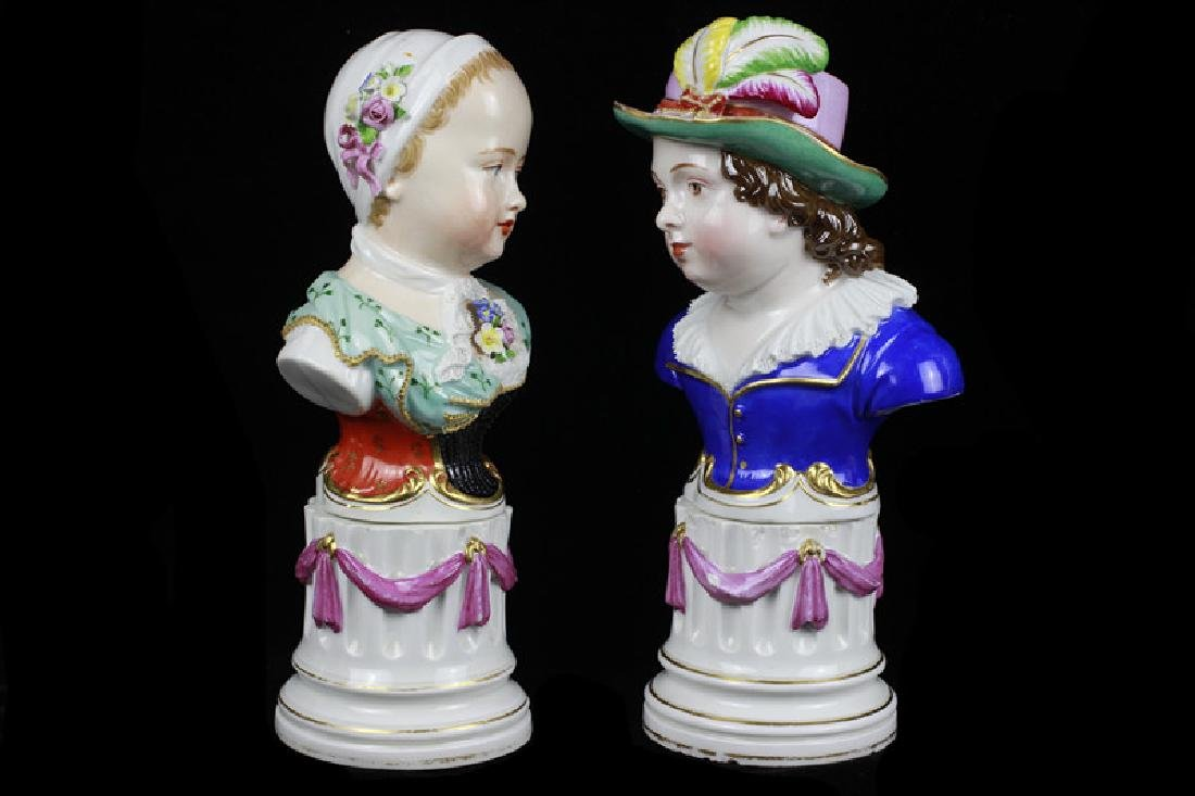 Early 19c 2 Vienna Porcelain Busts of Boy & Girl - 10