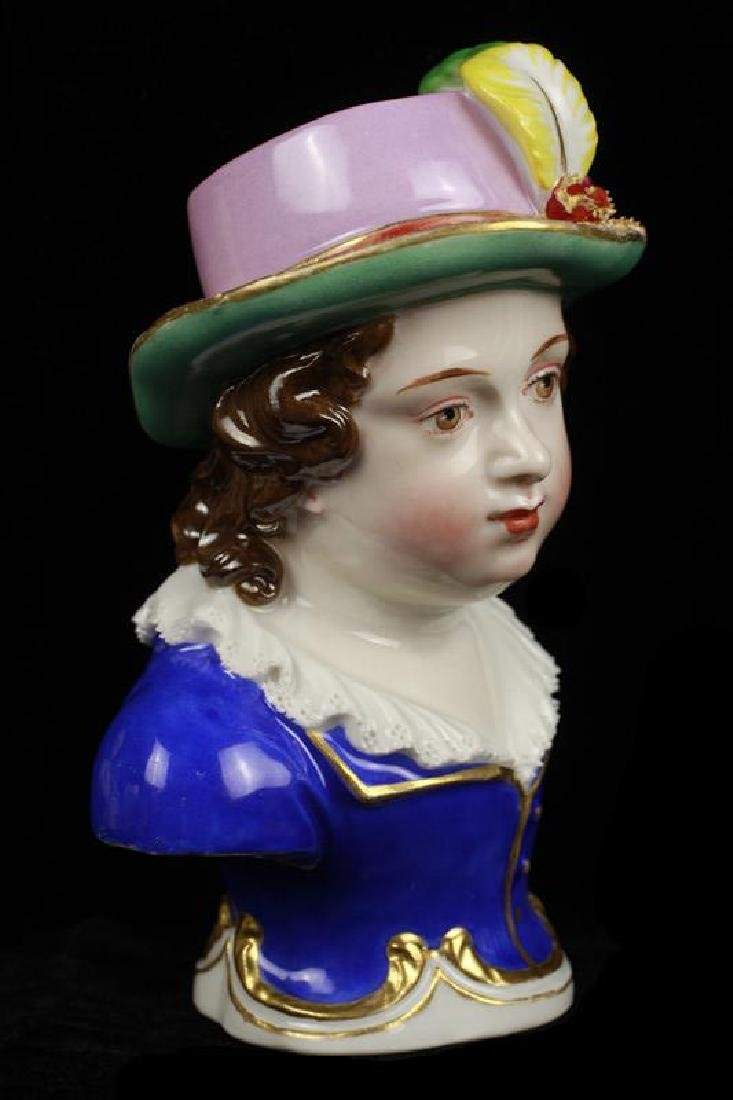 Early 19c 2 Vienna Porcelain Busts of Boy & Girl - 4