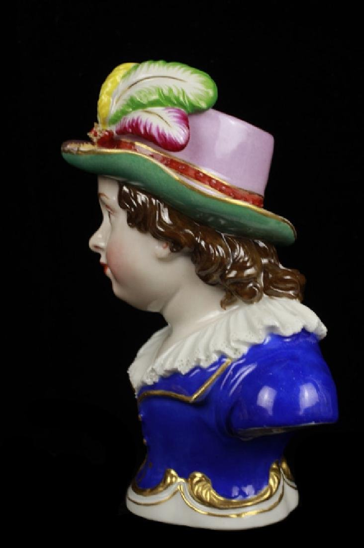 Early 19c 2 Vienna Porcelain Busts of Boy & Girl - 5