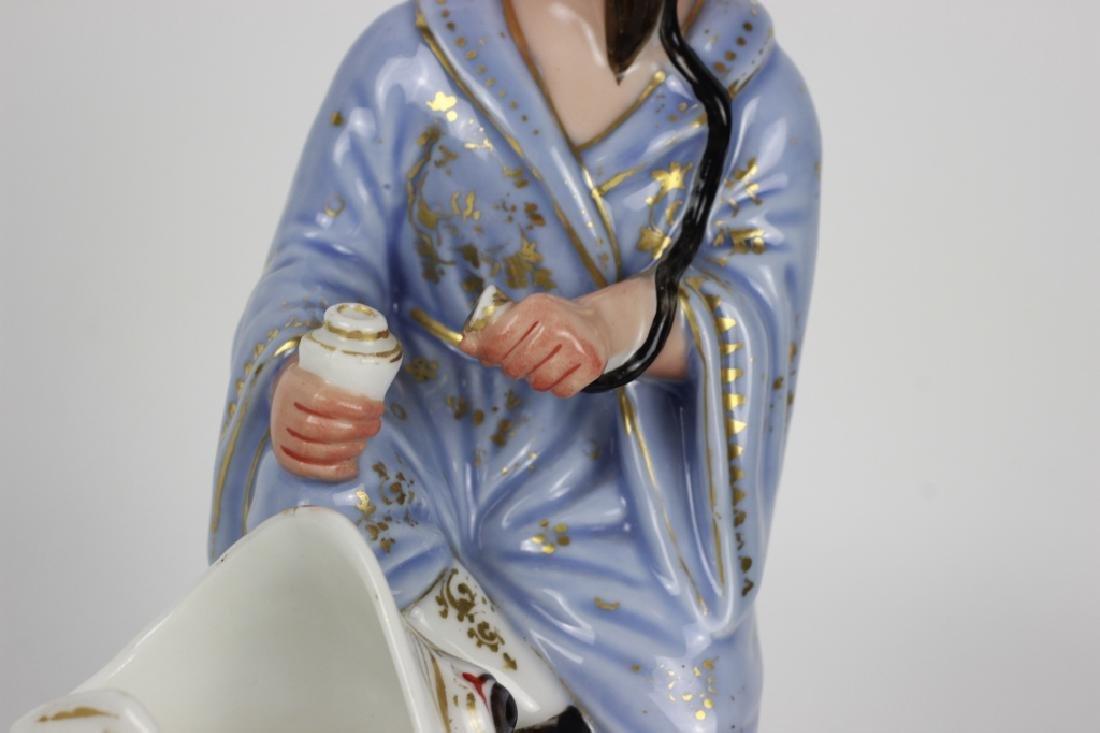 19thc Paris Porcelain Figure of an Oriental Man - 3