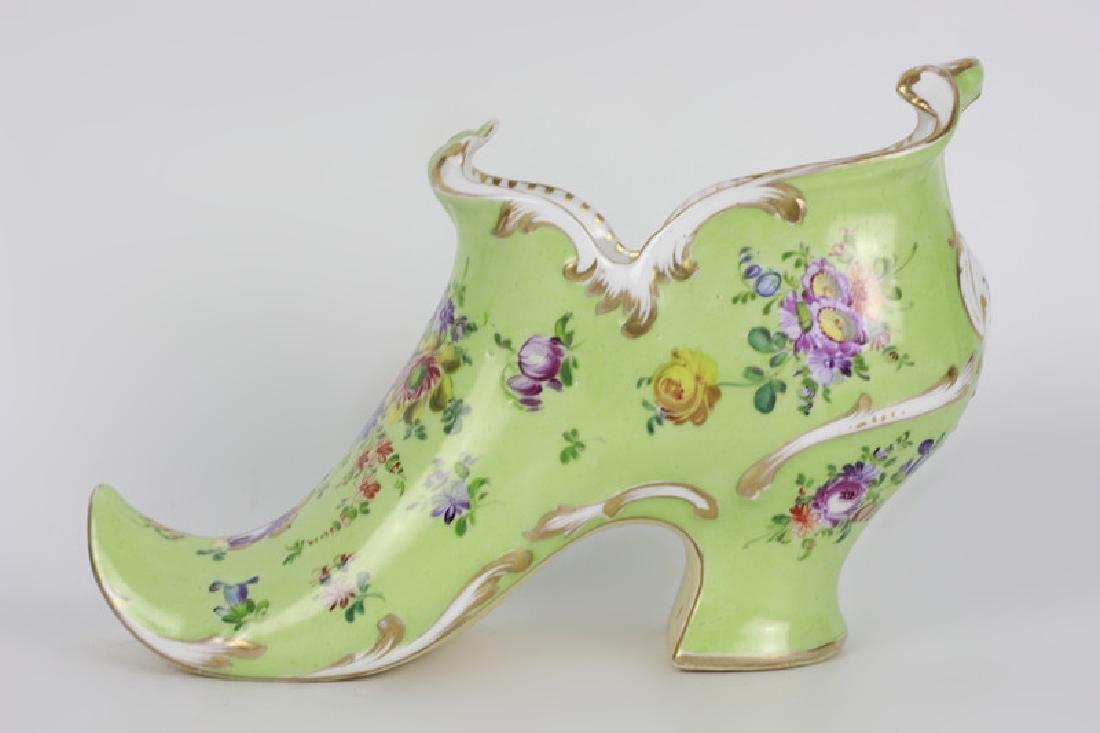 Old Dresden Green Porcelain Shoe
