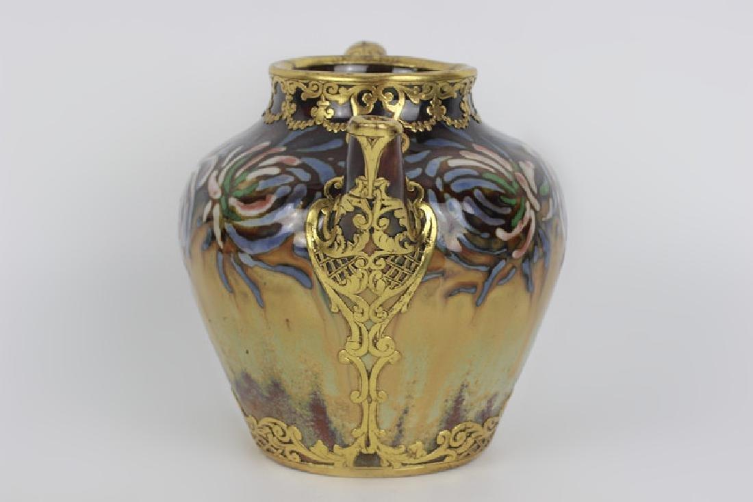 Rare Belgian Porcelain Teapot-Gilt Bronze Mounting - 8