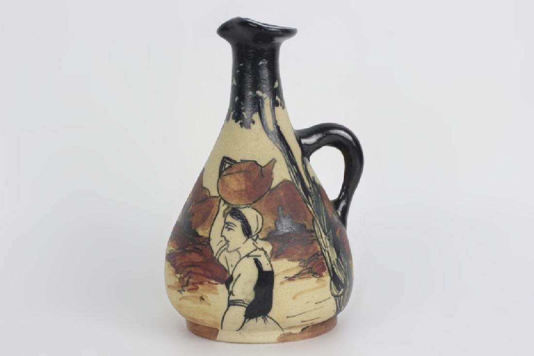 French Art Nouveau Style Pottery Pitcher