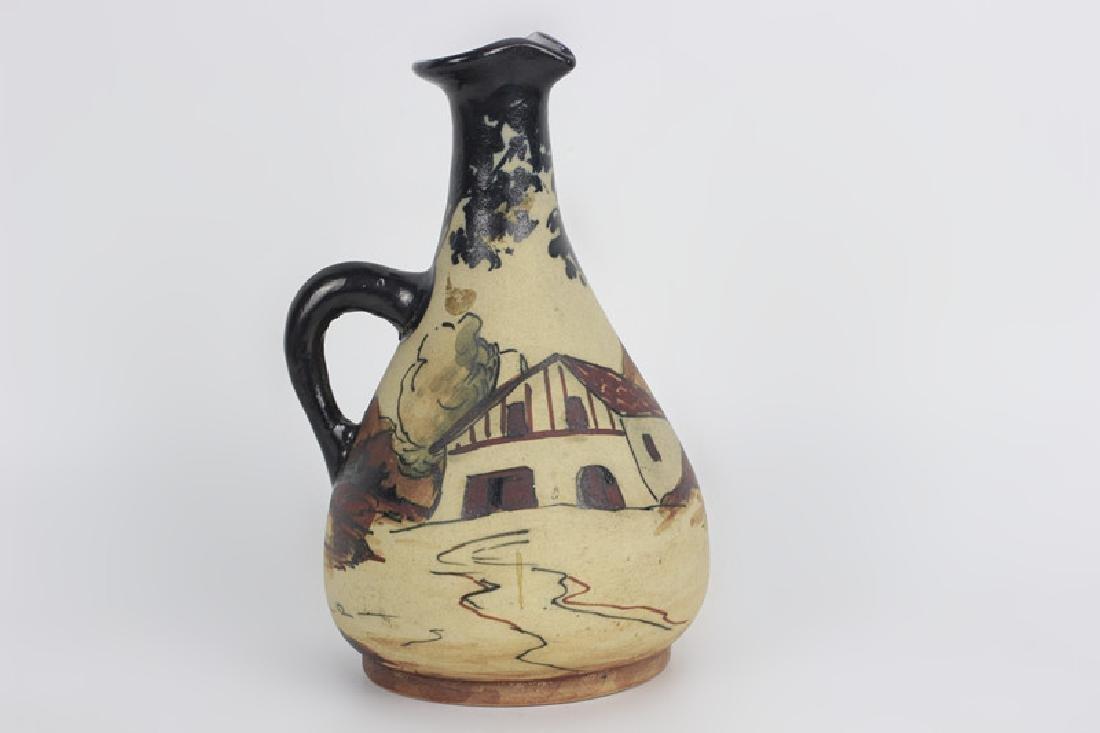 French Art Nouveau Style Pottery Pitcher - 2