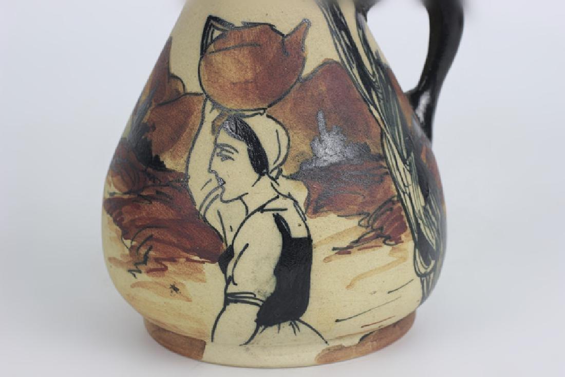 French Art Nouveau Style Pottery Pitcher - 8
