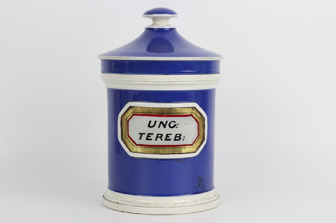 Old French Porcelain Pharmacists Covered Container
