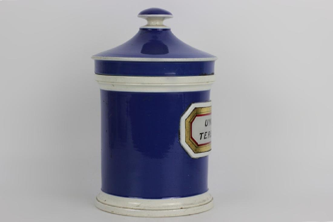 Old French Porcelain Pharmacists Covered Container - 2
