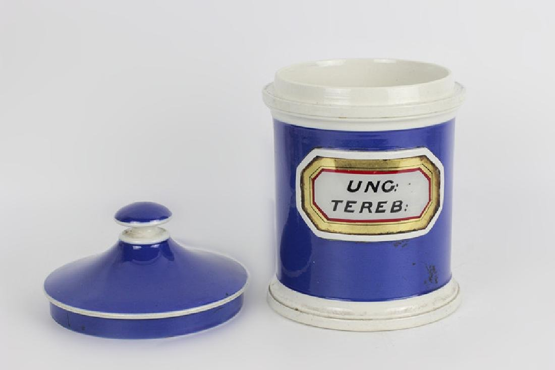 Old French Porcelain Pharmacists Covered Container - 5