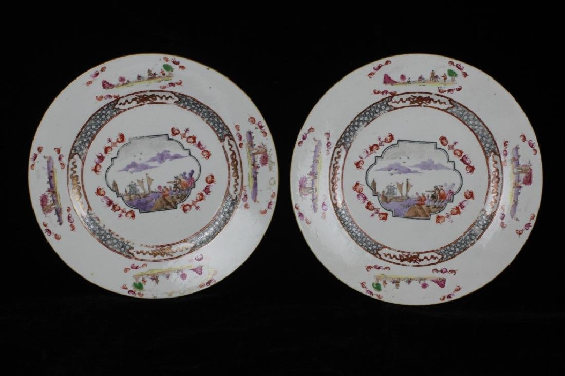 Chinese Pair of 19thc Export Porcelain Plates