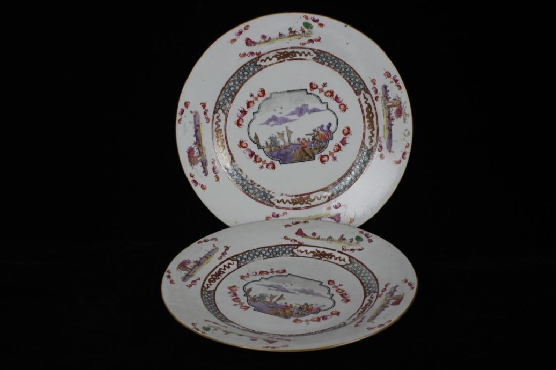 Chinese Pair of 19thc Export Porcelain Plates - 8