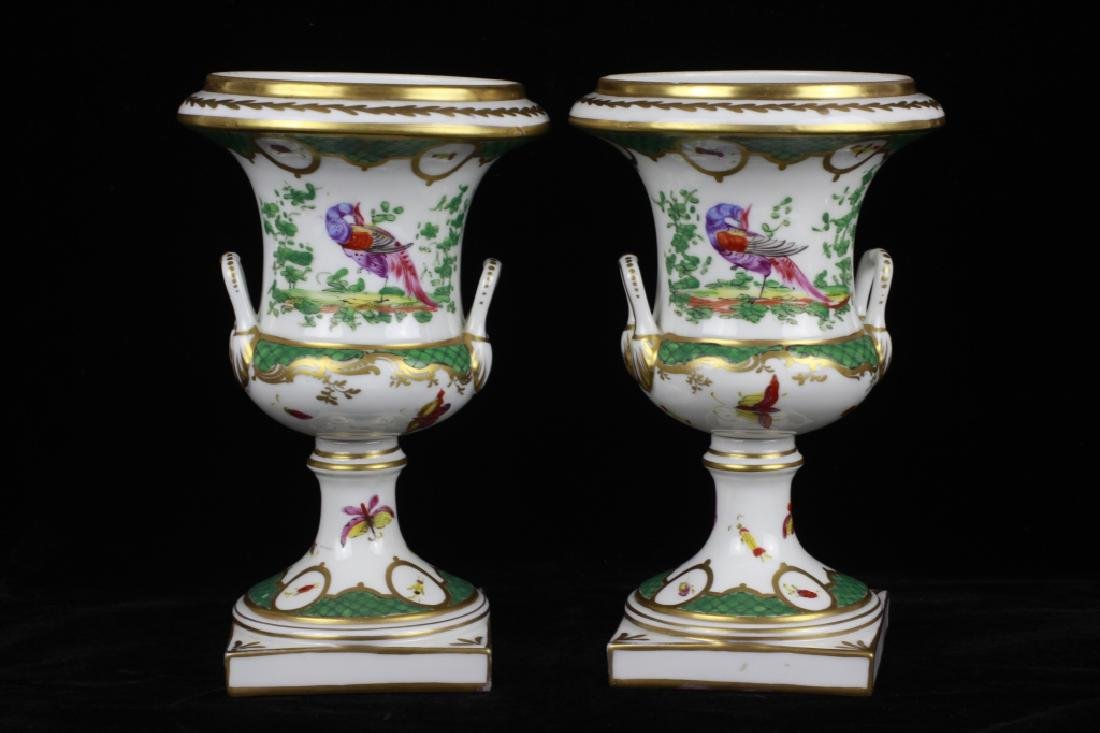 Pair of 19thc English Chelsea Hand Painted Urns