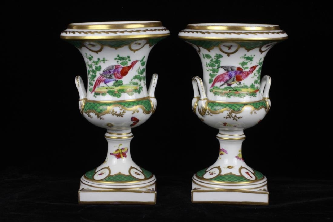 Pair of 19thc English Chelsea Hand Painted Urns - 2
