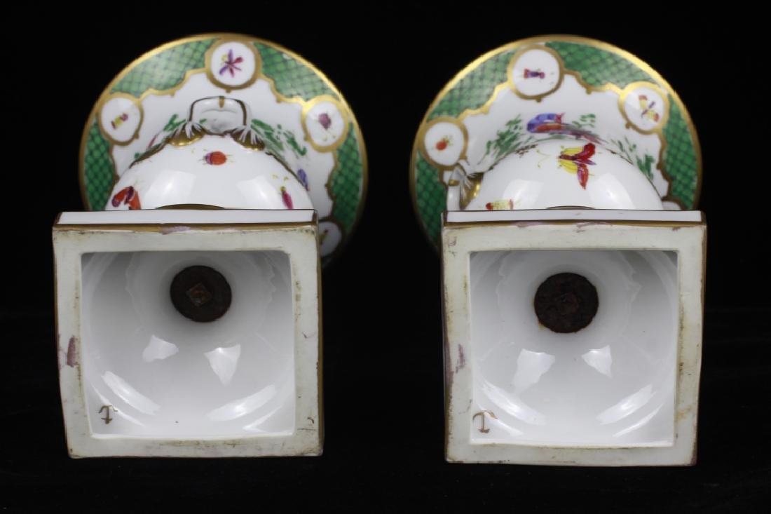 Pair of 19thc English Chelsea Hand Painted Urns - 8