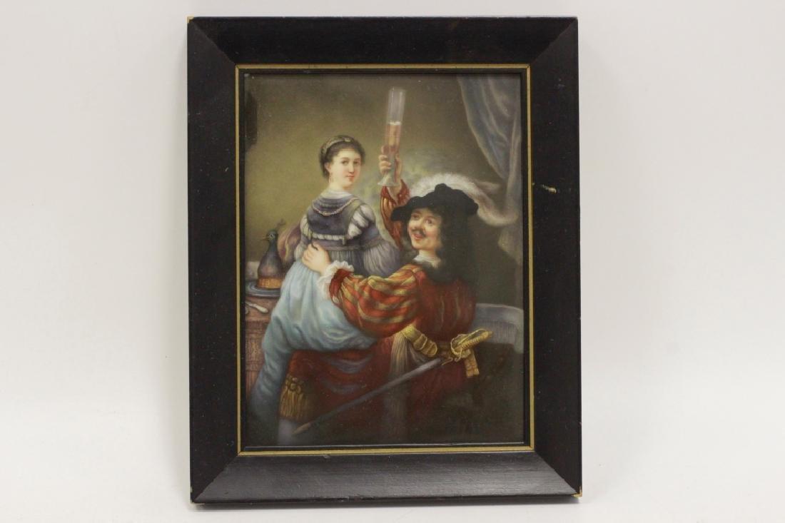 German Porcelain Plaque (Dresden),  After Rembrandt