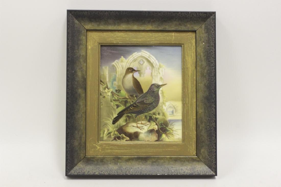 19thc English Porcelain Plaque of Birds Circa 1842