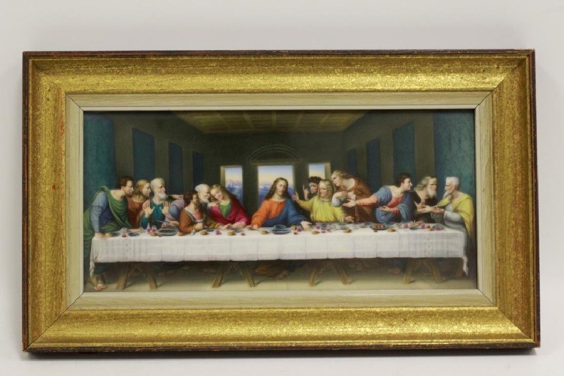 19thc Porcelain Plaque, Last Supper