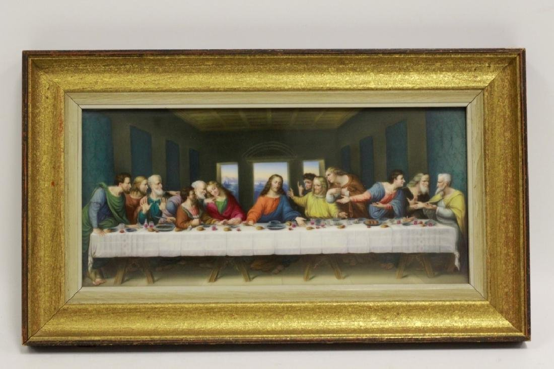 19thc Porcelain Plaque, Last Supper