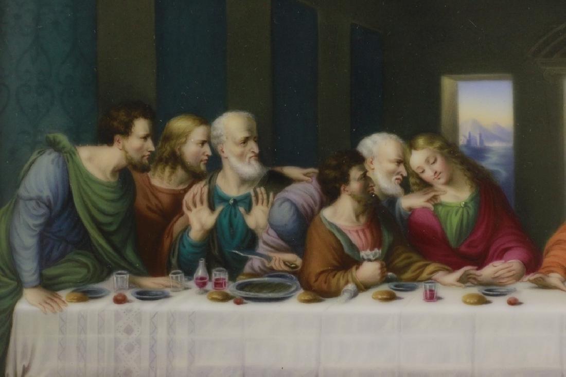 19thc Porcelain Plaque, Last Supper - 3