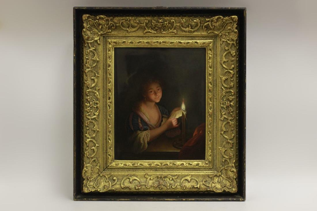 19thc Large Berlin Porcelain Plaque, Girl Reading