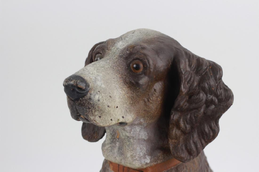 19thc Terra Cotta Figure of a Dog w/ Glass Eyes - 3