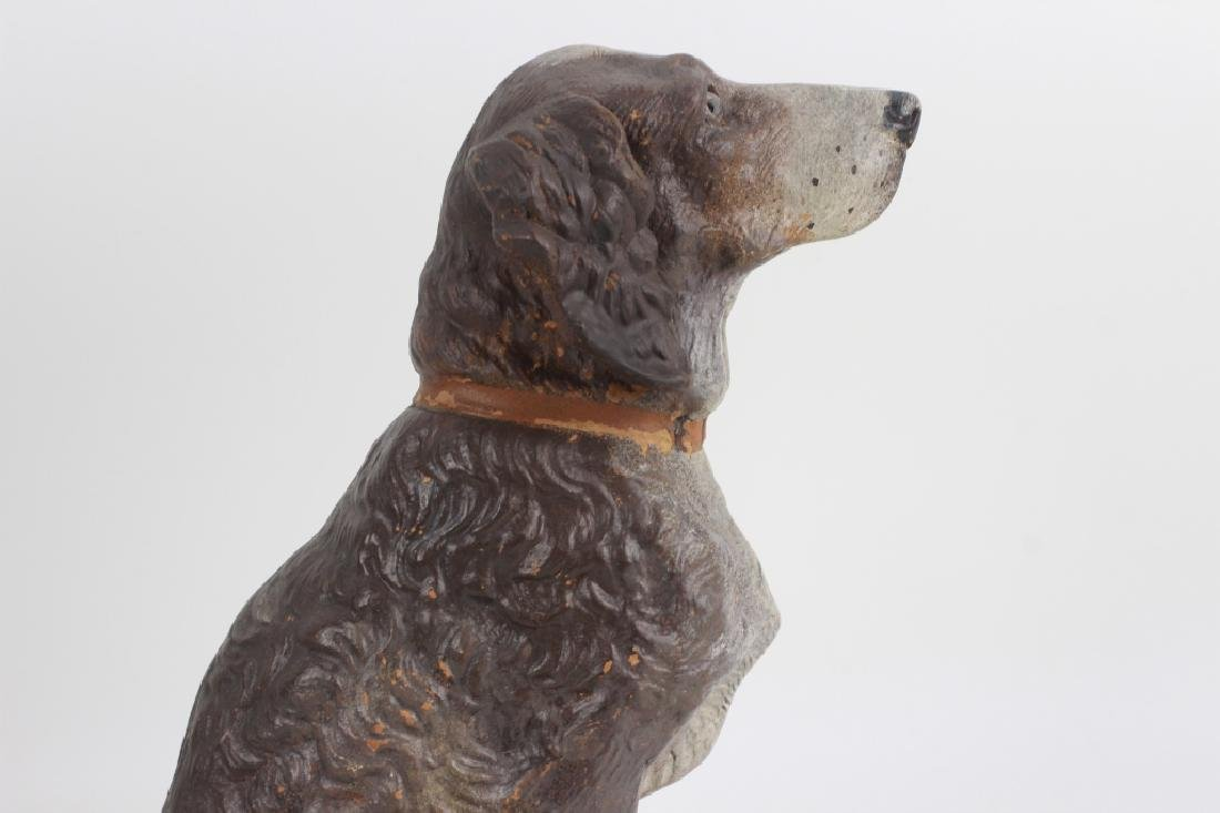 19thc Terra Cotta Figure of a Dog w/ Glass Eyes - 4