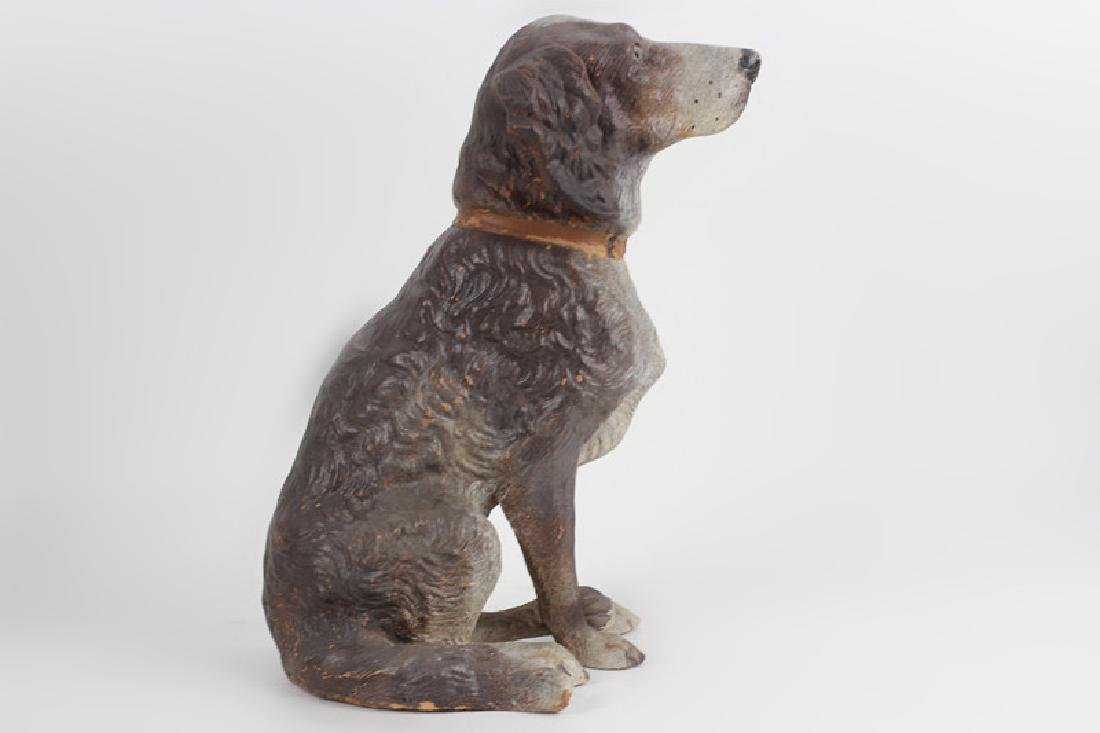19thc Terra Cotta Figure of a Dog w/ Glass Eyes - 5