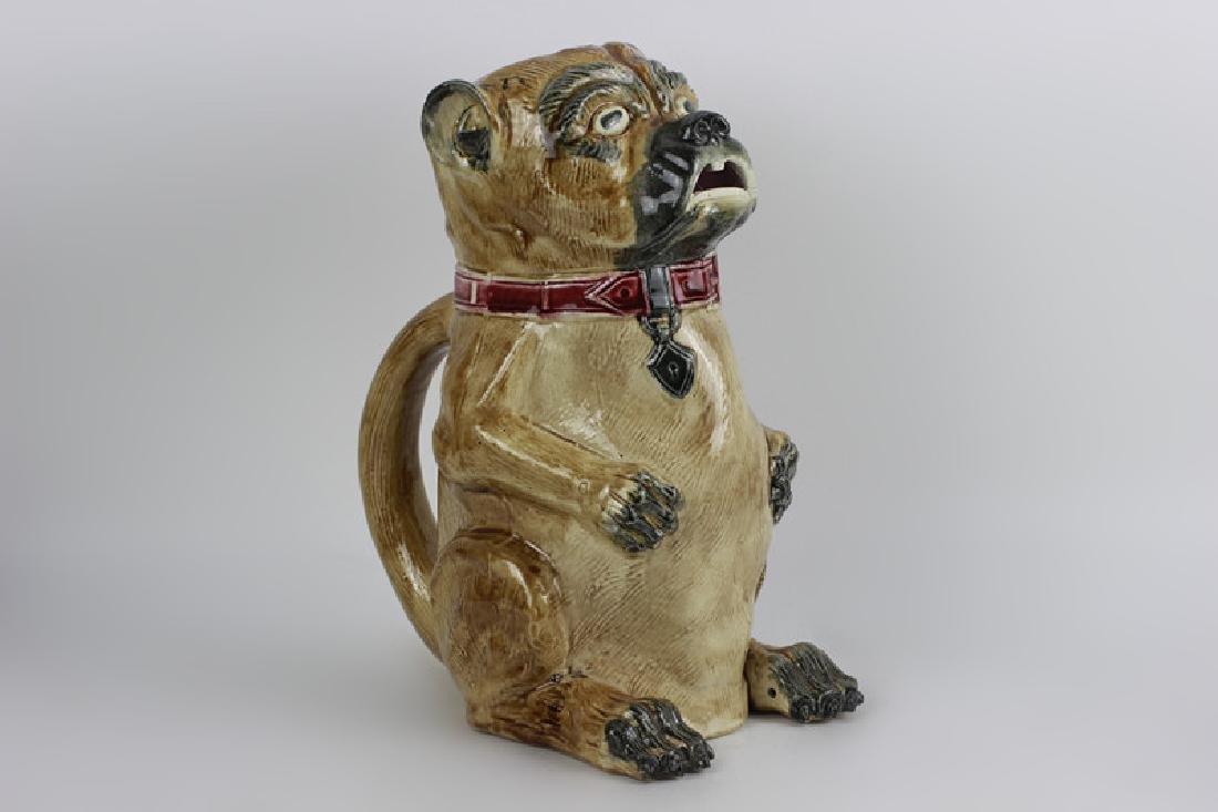 Old Majolica Dog Shape Pitcher