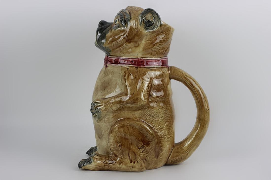 Old Majolica Dog Shape Pitcher - 2