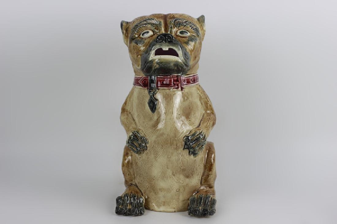 Old Majolica Dog Shape Pitcher - 3