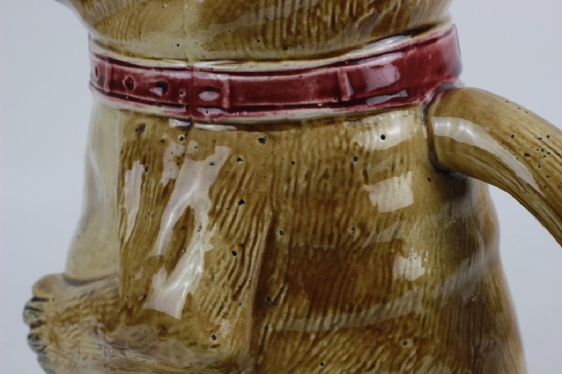 Old Majolica Dog Shape Pitcher - 5