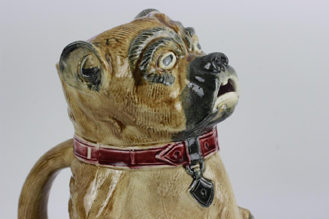 Old Majolica Dog Shape Pitcher - 7