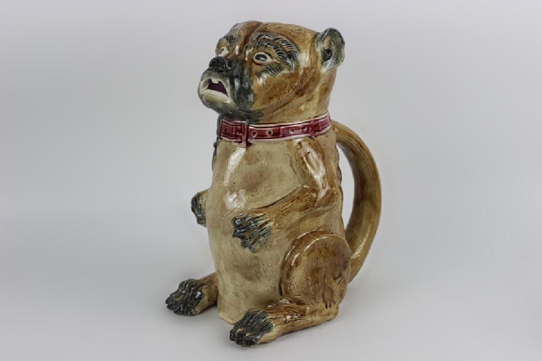 Old Majolica Dog Shape Pitcher - 8