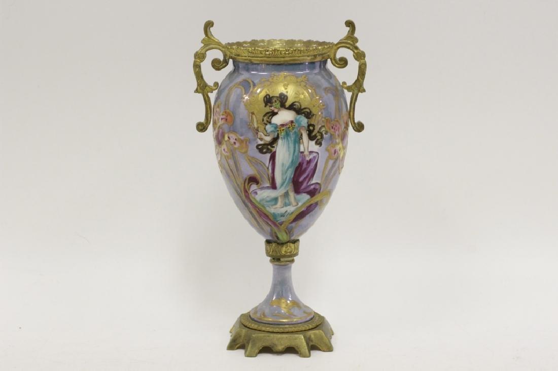 Sevres Style 2 Handle Porcelain & Bronze Vase