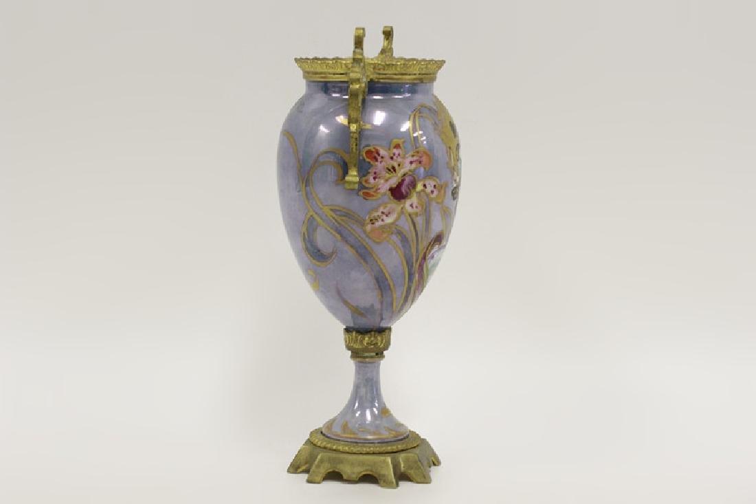 Sevres Style 2 Handle Porcelain & Bronze Vase - 2
