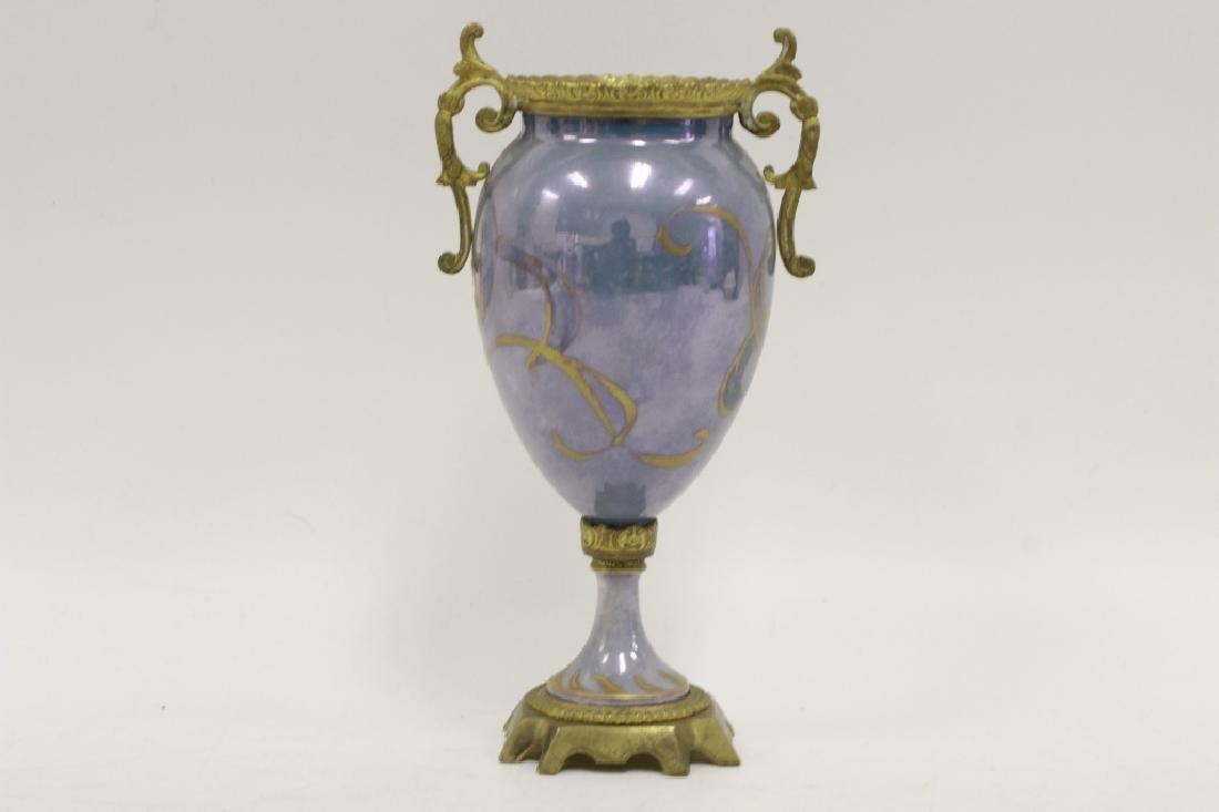 Sevres Style 2 Handle Porcelain & Bronze Vase - 3