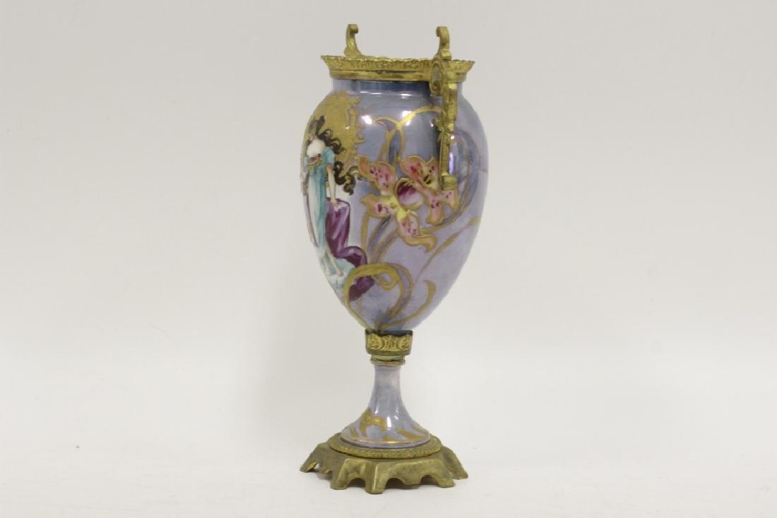Sevres Style 2 Handle Porcelain & Bronze Vase - 4