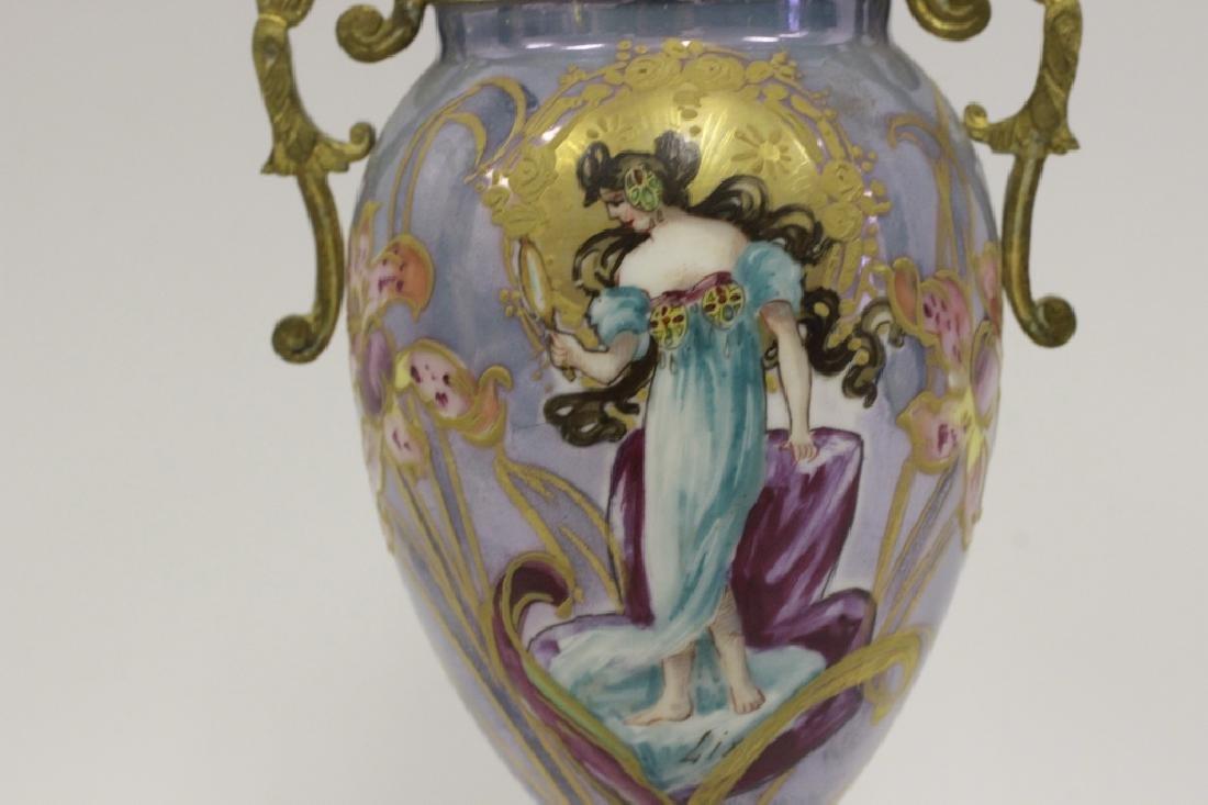 Sevres Style 2 Handle Porcelain & Bronze Vase - 5