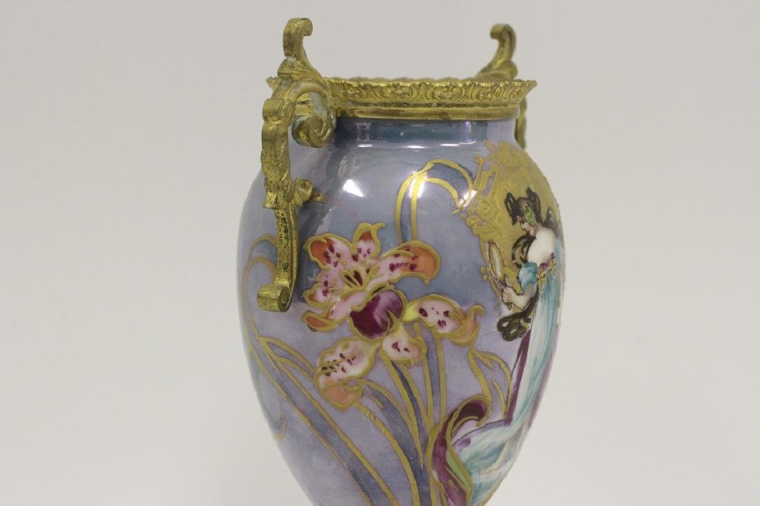 Sevres Style 2 Handle Porcelain & Bronze Vase - 6