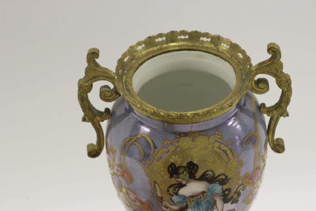 Sevres Style 2 Handle Porcelain & Bronze Vase - 8