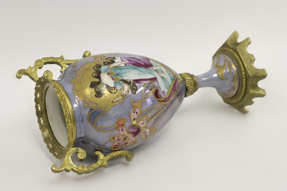 Sevres Style 2 Handle Porcelain & Bronze Vase - 9