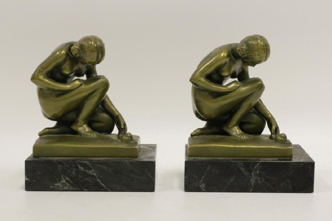 Pair of Bronze & Marble Bookends
